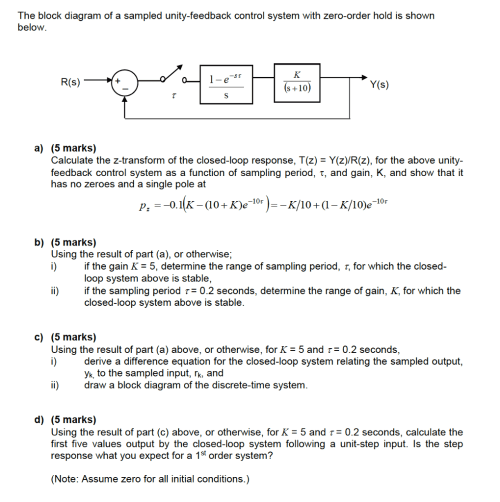 small resolution of question the block diagram of a sampled unity feedback control system with zero order hold is shown below a calculate the z transform of the closed loop