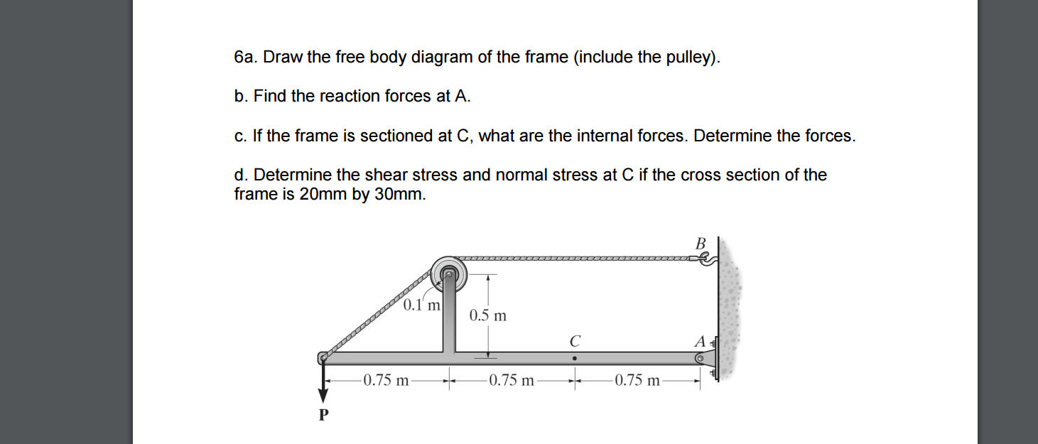 hight resolution of draw the free body diagram of the frame include t