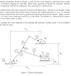 for the planar mechanism shown in figure 1 draw the free body diagram equivalent [ 1024 x 931 Pixel ]