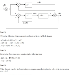 question given a discrete time system block diagram below obtain the following state space equations base  [ 878 x 1016 Pixel ]