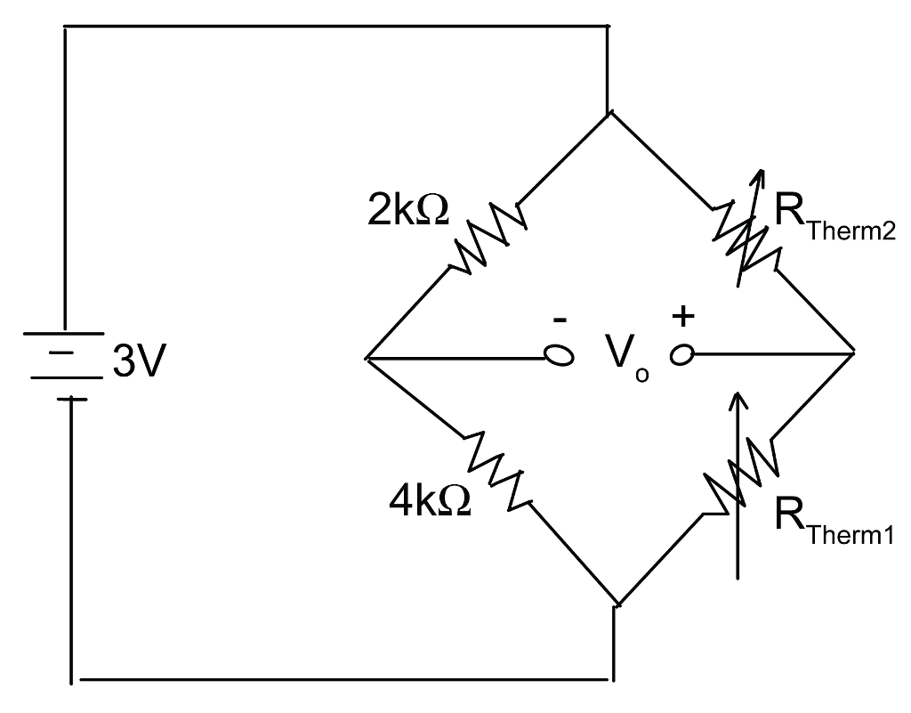 Solved: A Wheatstone Bridge With Two Thermistors Implement
