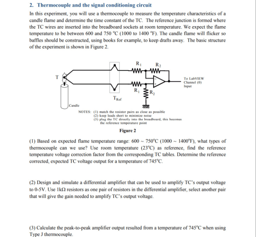 small resolution of thermocouple and the signal conditioning circuit in this experiment you will use a