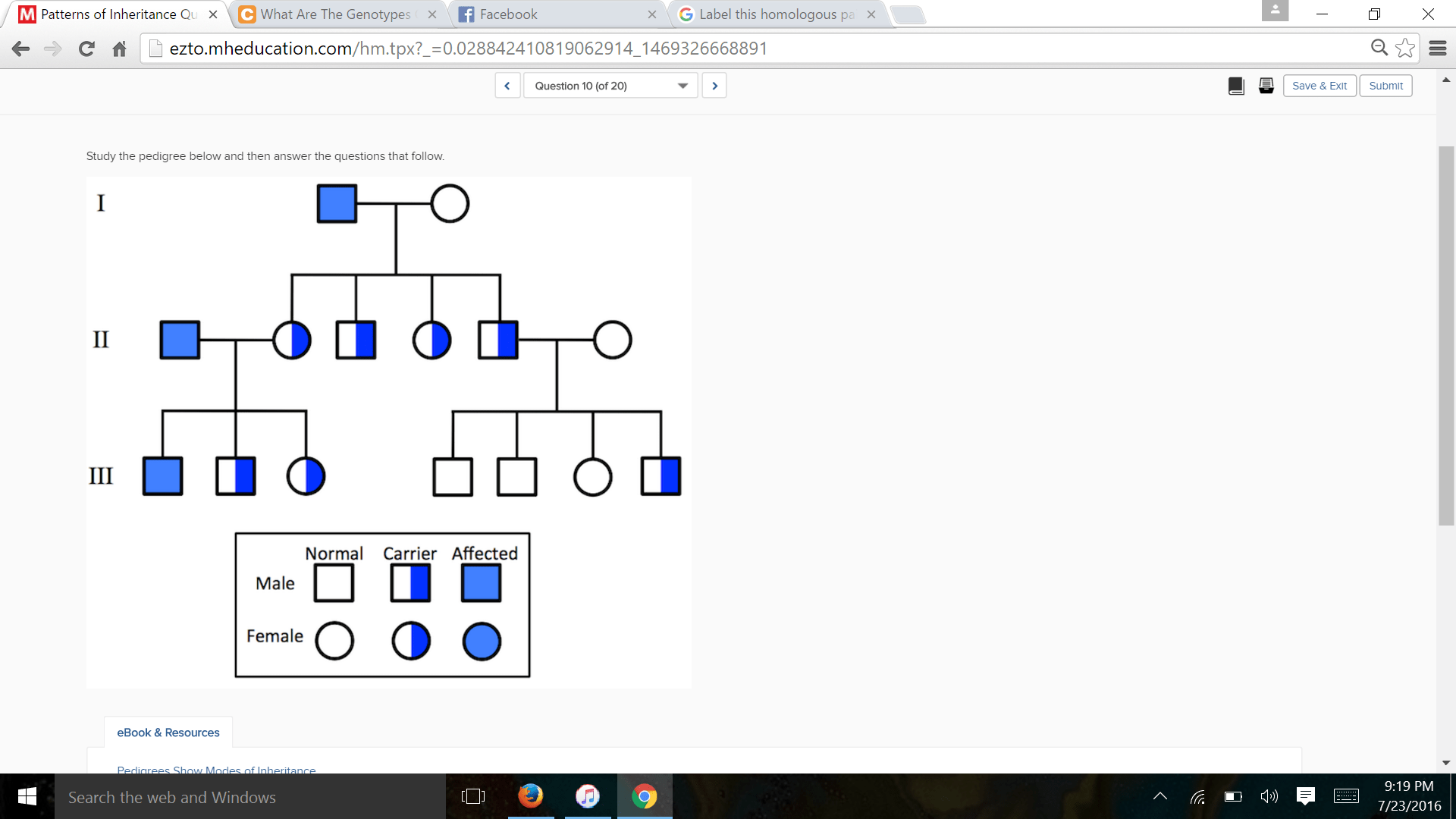 Study The Pedigree Below And Then Answer The Quest