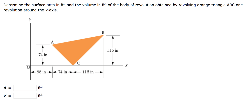 Solved: Determine The Surface Area In Ft^2 And The Volume