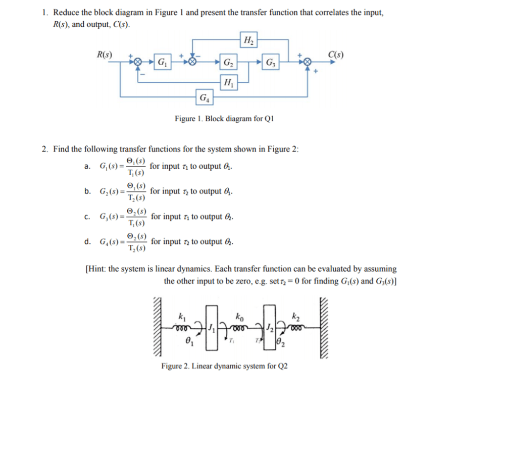 medium resolution of reduce the block diagram in figure 1 and present the transfer function that correlates
