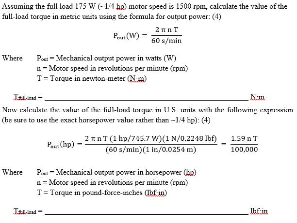 Motor Rpm Calculation Formula