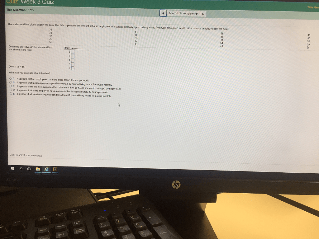 Solved Use A Stem And Leaf Plot To Display The Data The