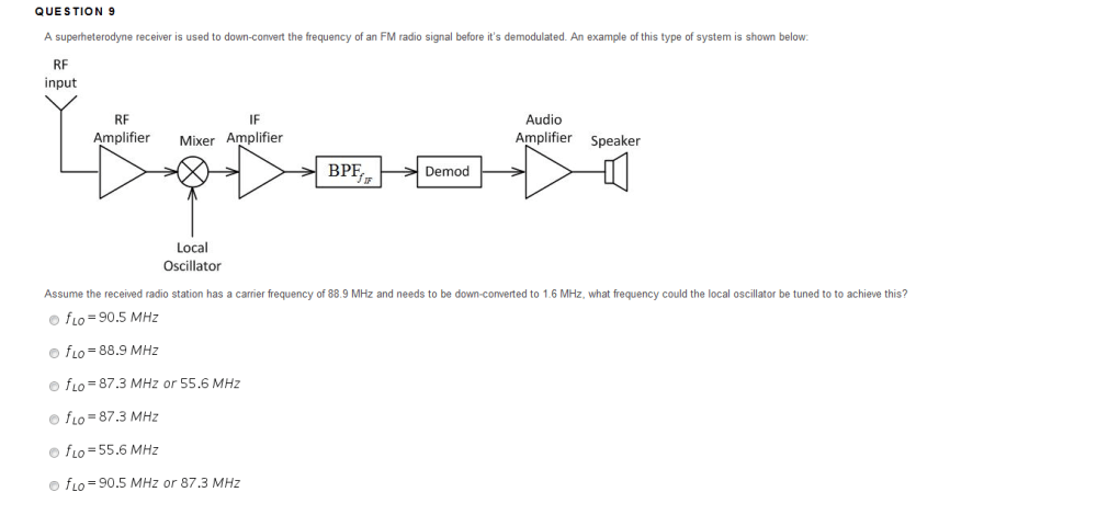 medium resolution of que s tion 9 a superheterodyne receiver is used to down convert the frequency of