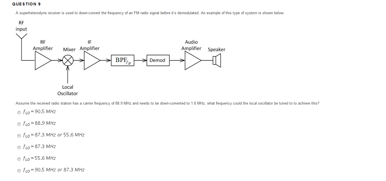 hight resolution of que s tion 9 a superheterodyne receiver is used to down convert the frequency of