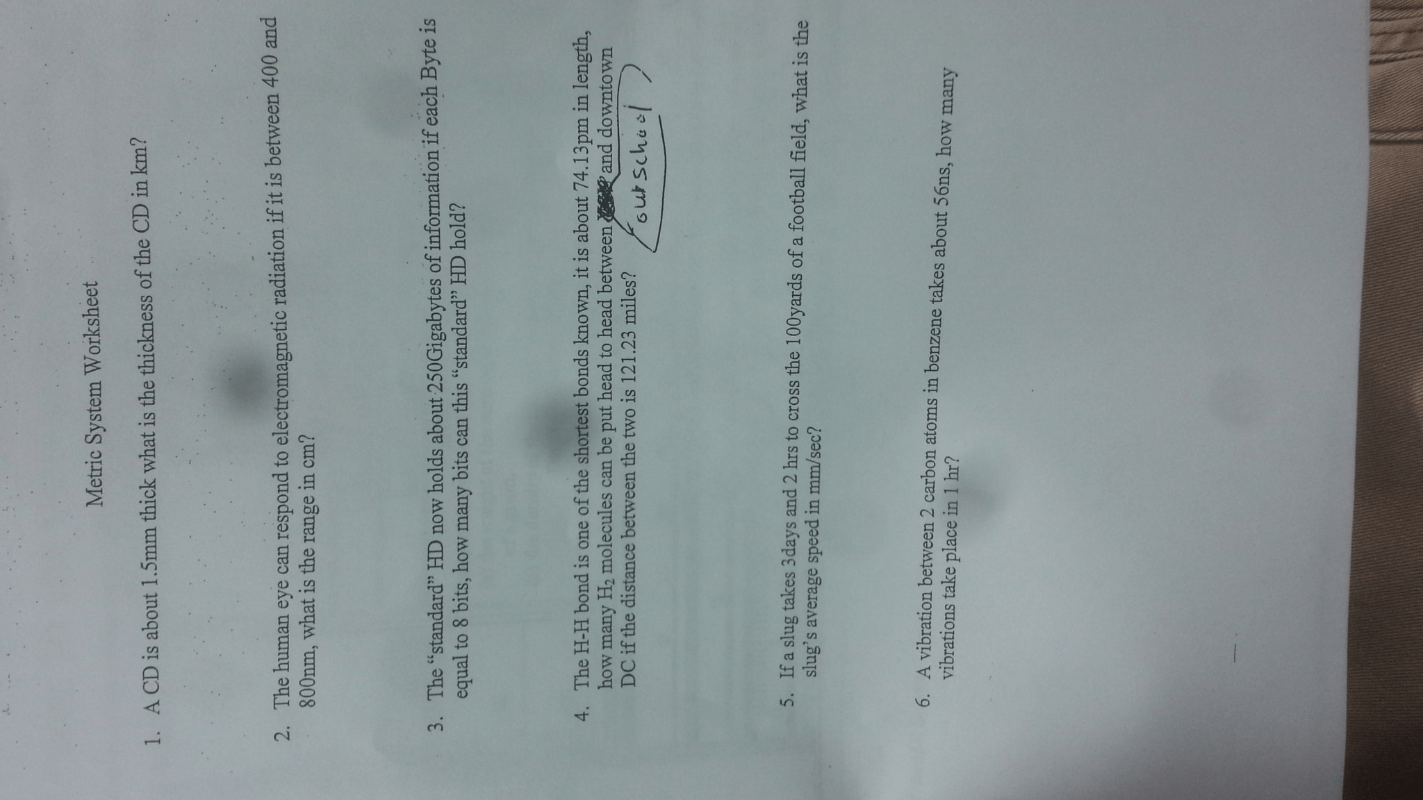 Solved Metric System Worksheet 1 Acd Is About 1 5mm Thic