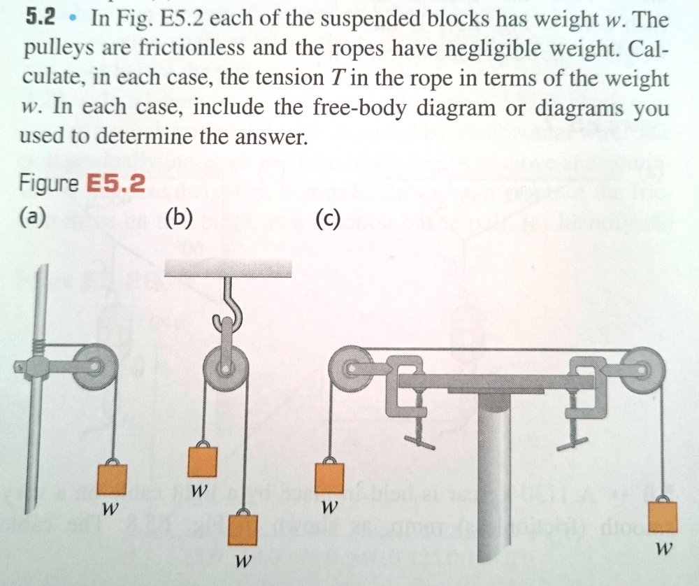 medium resolution of in fig each of the suspended blocks has weight w