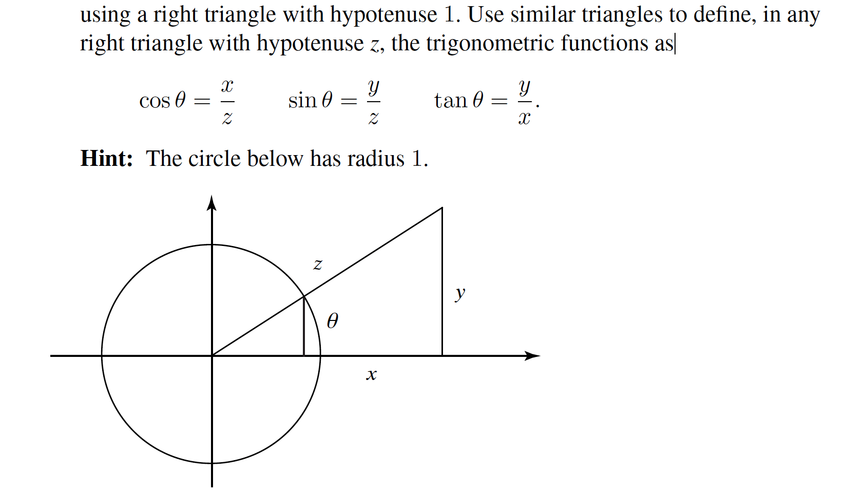 Solved Using A Right Triangle With Hypotenuse 1 Use Sim