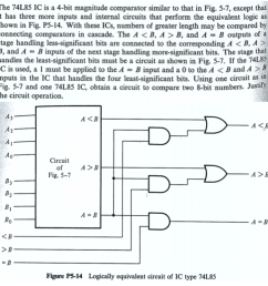 question the 74l85 ic is a 4 bit magnitude comparator similar to that in fig 5 7 except that it has three more inputs and internal circuits that perform  [ 1068 x 1096 Pixel ]