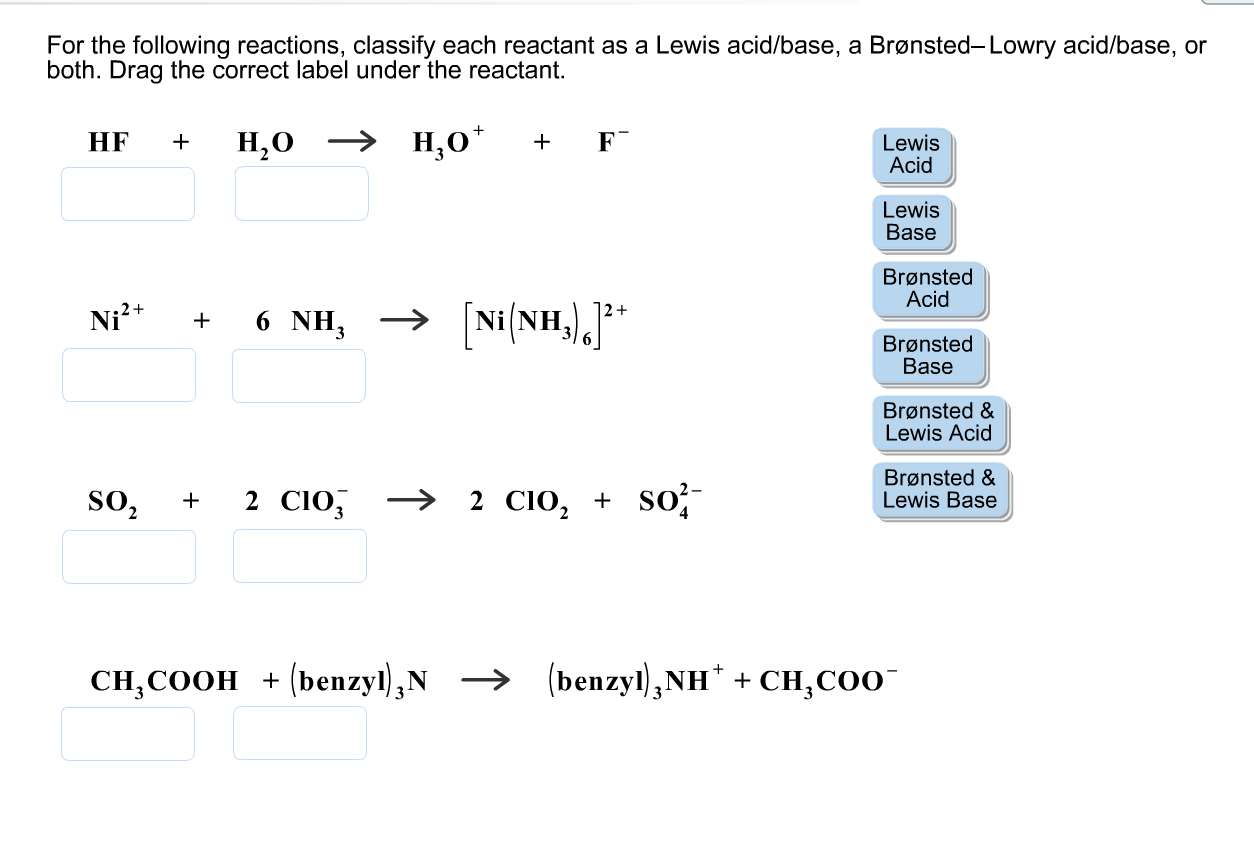 Solved For The Following Reactions Classify Each Reactan
