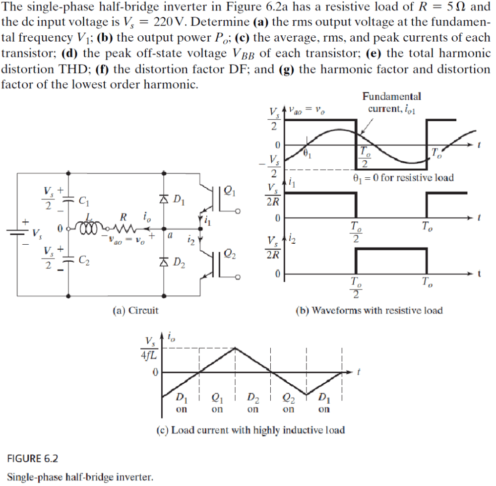 medium resolution of the single phase half bridge inverter in figure 6 2a has a resistive load