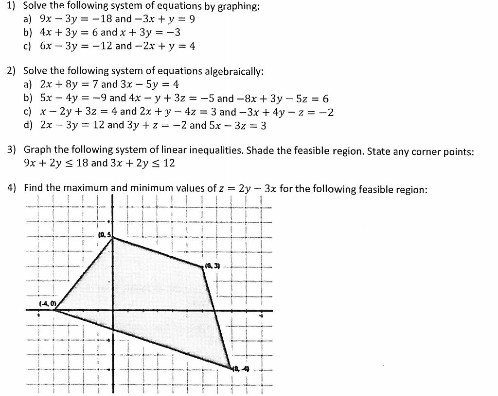 Solved Solve The Following System Of Equations By Graphin