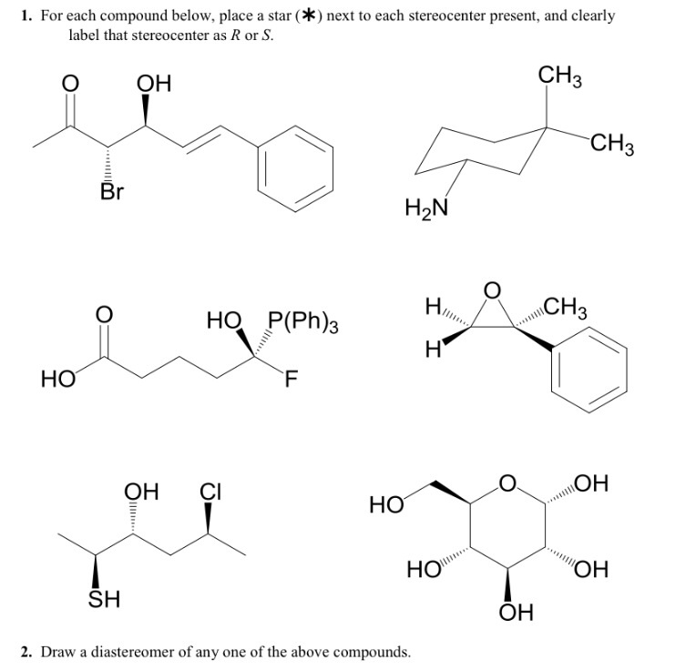 Solved: For Each Compound Below, Place A Star (*) Next To