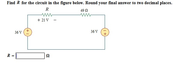 Solved: Find R For The Circuit In The Figure Below. Round