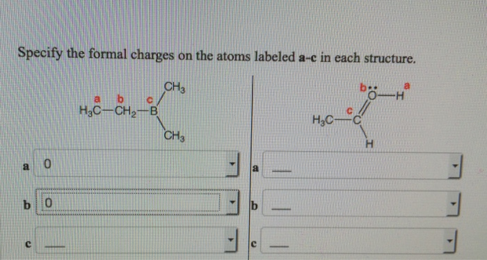 Solved: Specify The Formal Charges On The Atoms Labeled A
