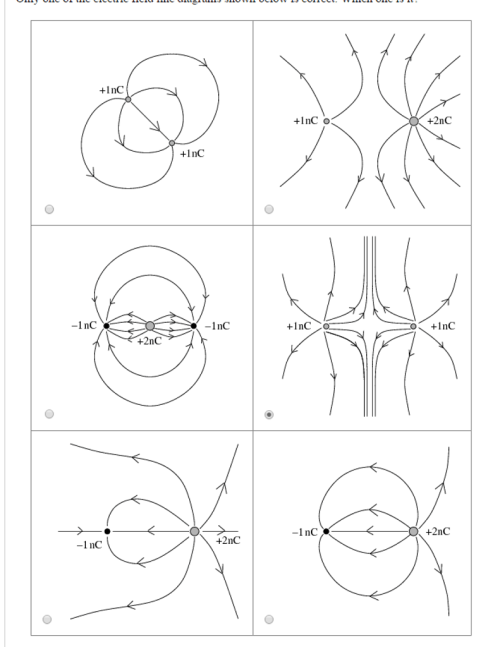 small resolution of only one of the electric field line diagrams shown
