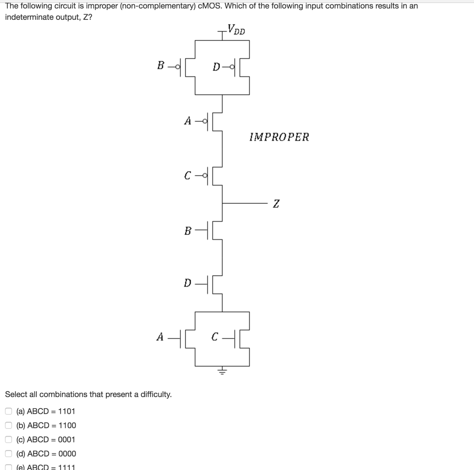 hight resolution of the following circuit is improper non complementa