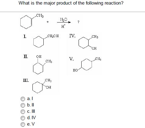 Solved: What Is The Major Product Of The Following Reactio