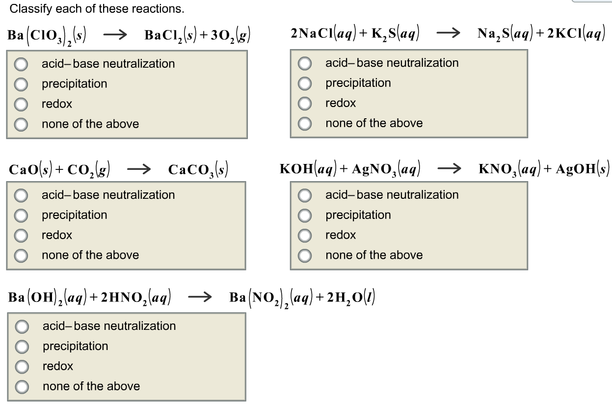 Solved Classify Each Of These Reactions Ba Cio 3 2 S