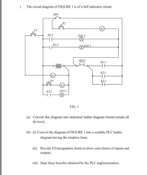 small resolution of the circuit diagram of figure 1 is of a bell indicator circuit swi
