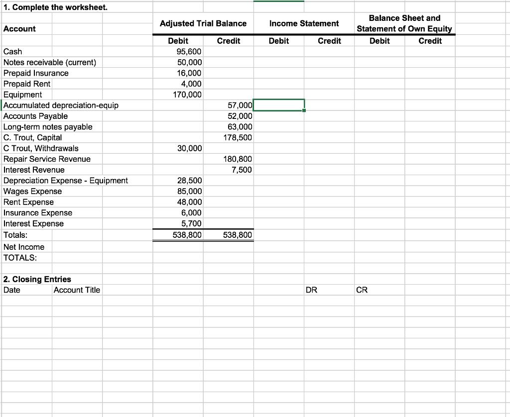 Solved 1 Complete The Worksheet Adjusted Trial Balance