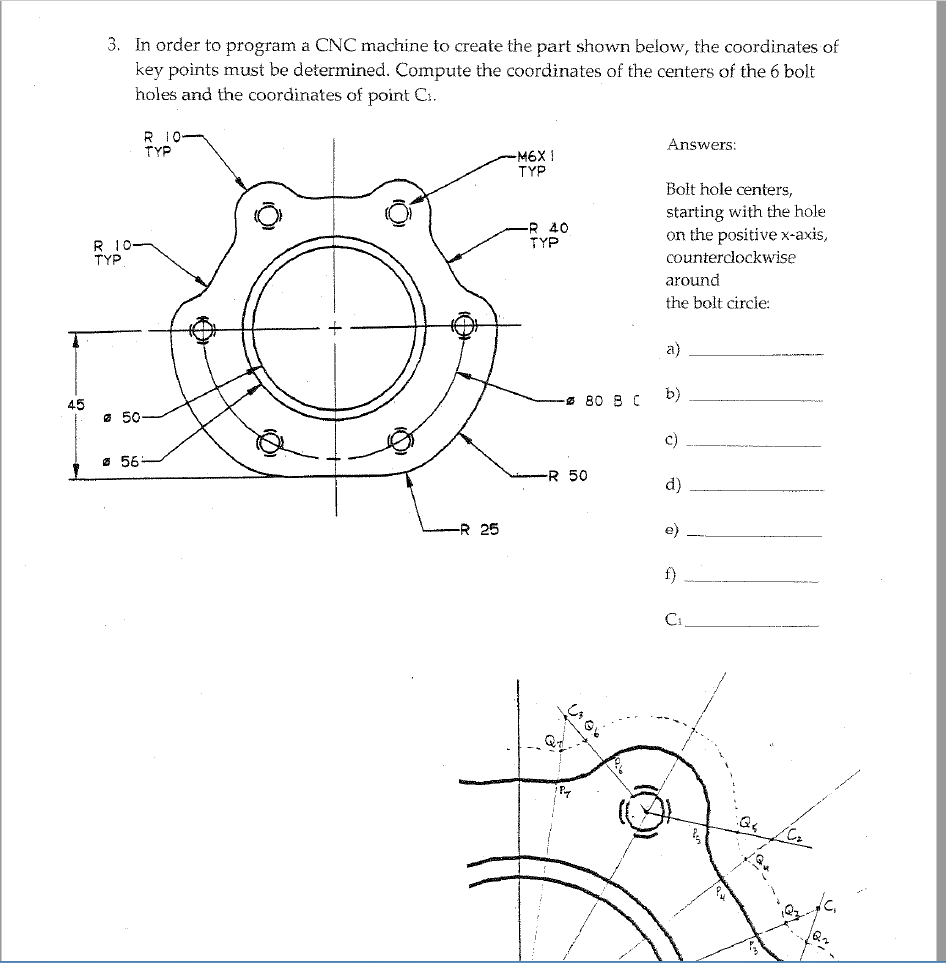 hight resolution of question 3 in order to program a cnc machine to create the part shown below the coordinates of key points must be determined compute the coordinates of