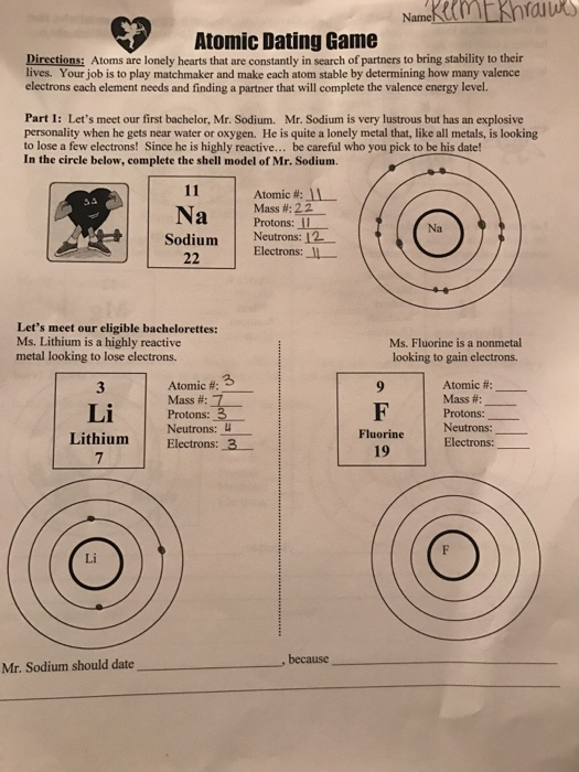 How Many Valence Electrons Does Sodium Have : valence, electrons, sodium, Solved:, Directions:, Atoms, Lonely, Hearts, Const..., Chegg.com