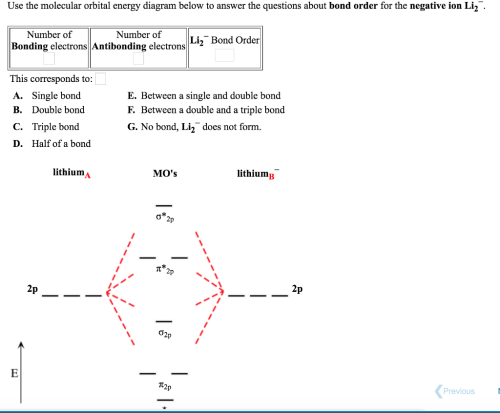 small resolution of question use the molecular orbital energy diagram below to answer the questions about bond order for the negative ion li2 number of bonding electrons