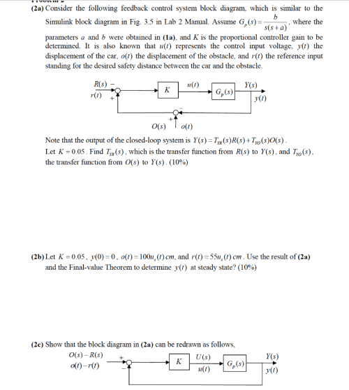 small resolution of  2a consider the following feedback control system block diagram which is similar to