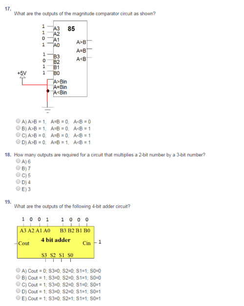 small resolution of question what are the outputs of the magnitude comparator circuit as shown 1 a3 85 1 a2 0 1 a b 0 1 b3 0 b2 1 b1 bin bin bin a 6 1 a