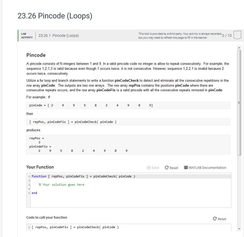Solved: 23.26 Pincode (Loops) 23.26.1: Pincode (Loops) Thi...   Chegg.com