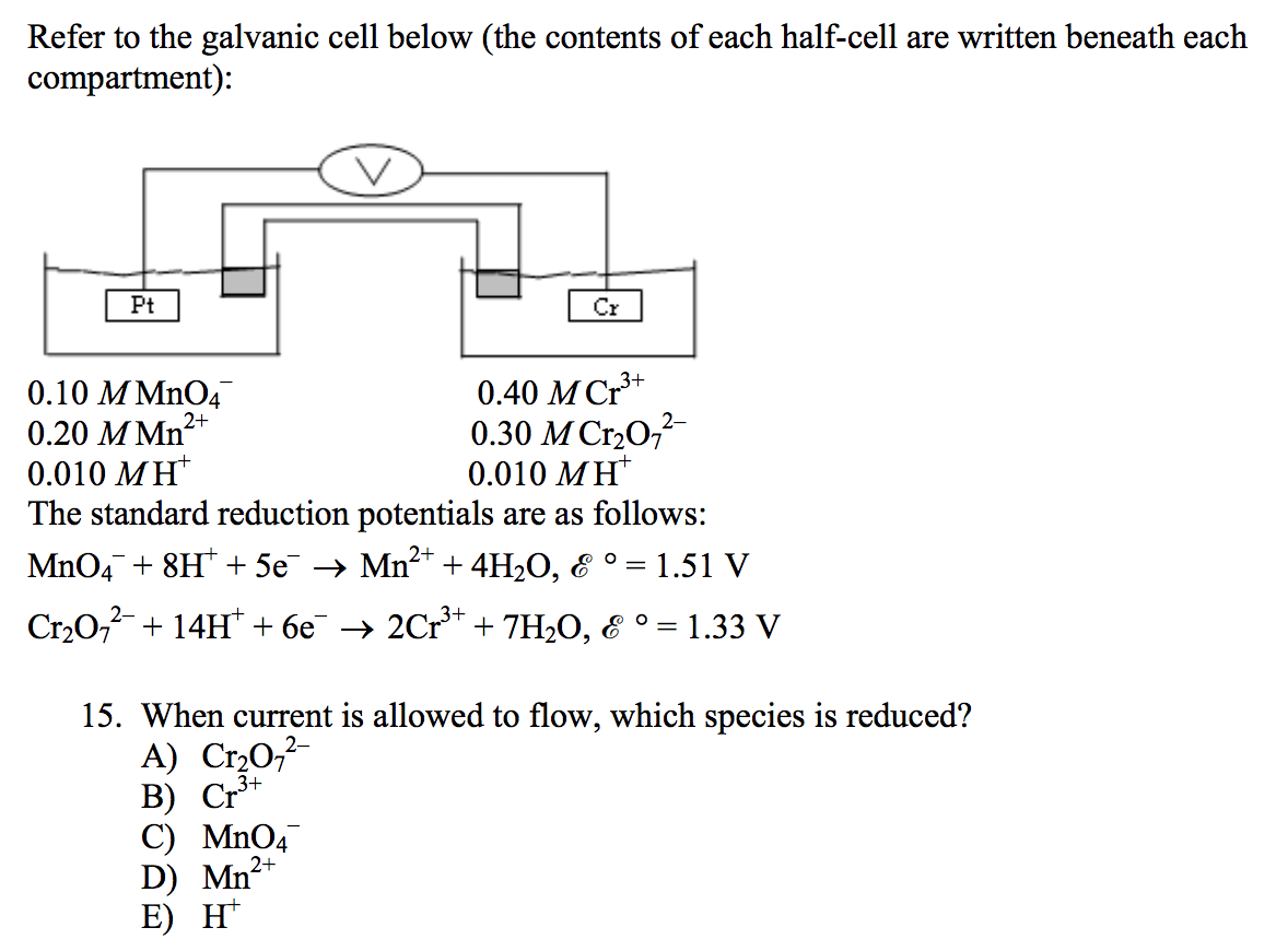 Solved Refer To The Galvanic Cell Below The Contents Of
