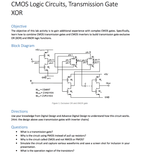 small resolution of cmos logic circuits transmission gate xor objective the objective of this lab activity is to