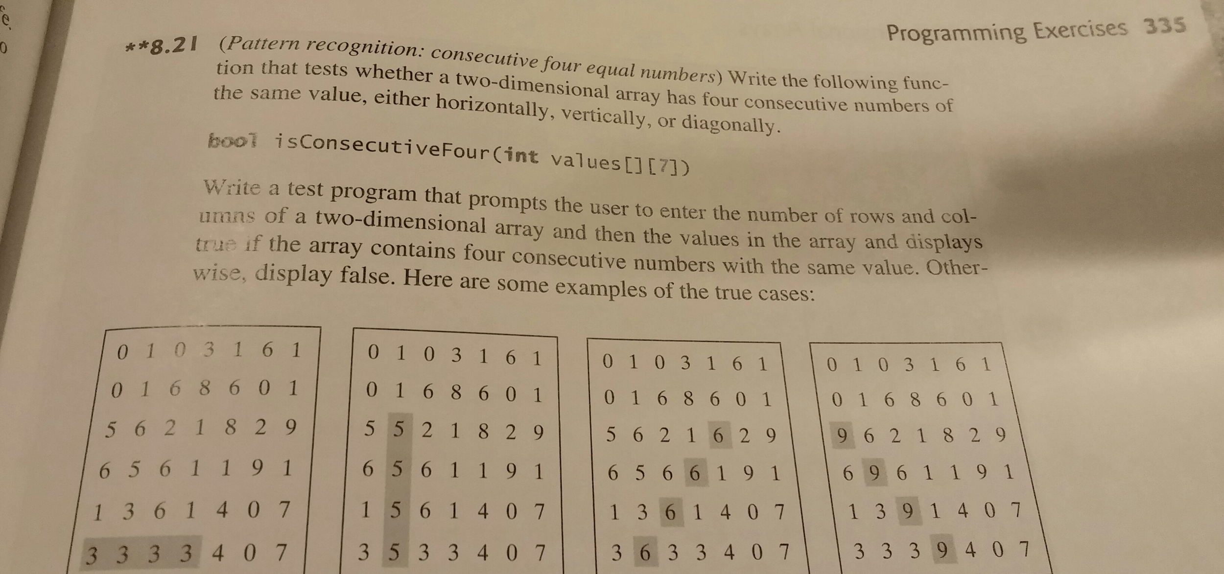 Solved Pattern Recognition Consecutive Four Equal Numbe