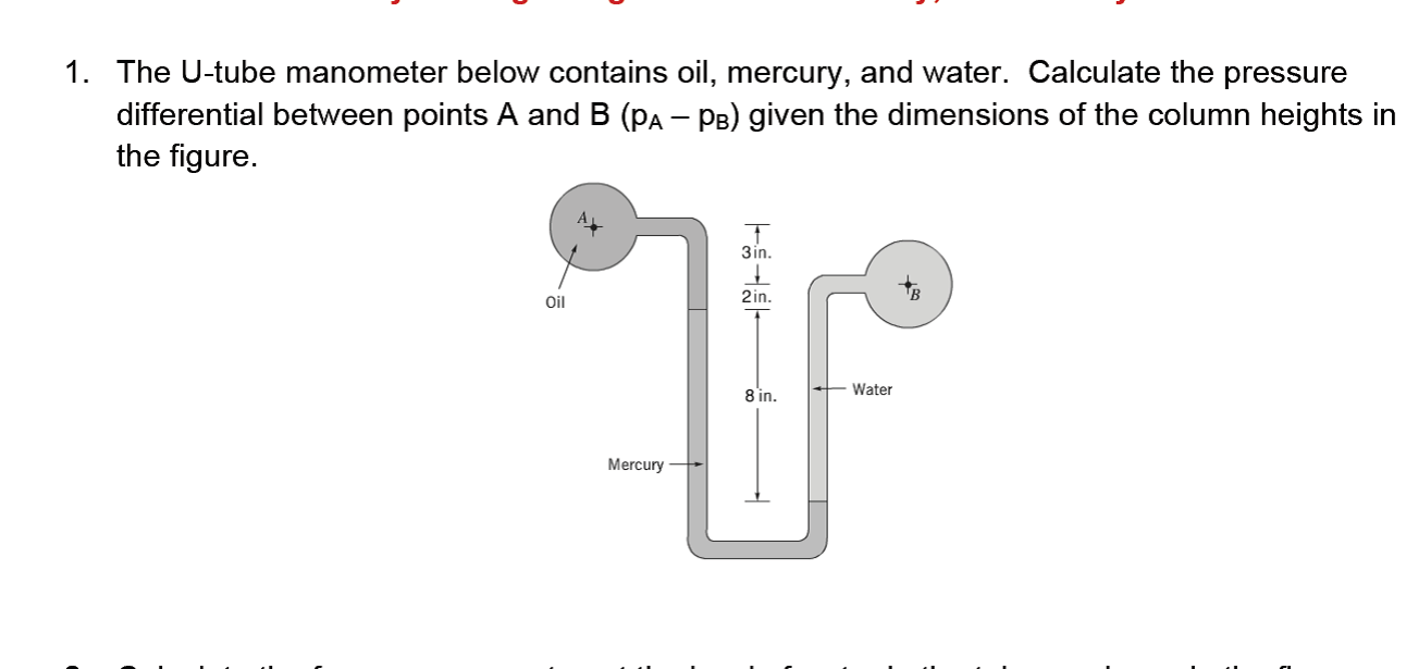 hight resolution of the u tube manometer below contains oil mercury