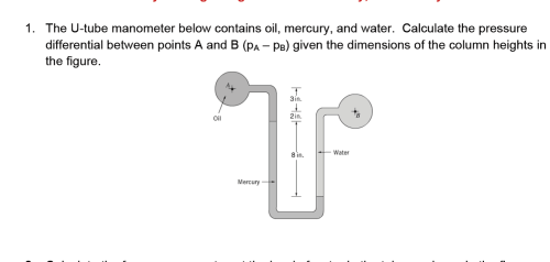 small resolution of the u tube manometer below contains oil mercury
