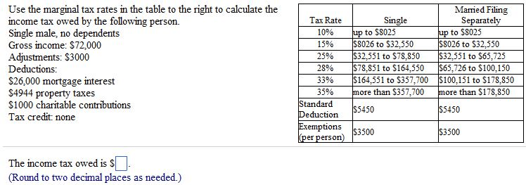 Solved: Use The Marginal Tax Rates To Calculate The Income