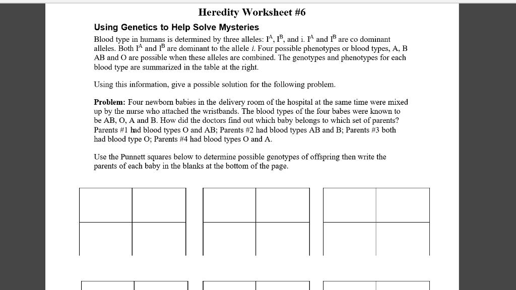 Solved Heredity Worksheet 6 Using Genetics To Help Solve