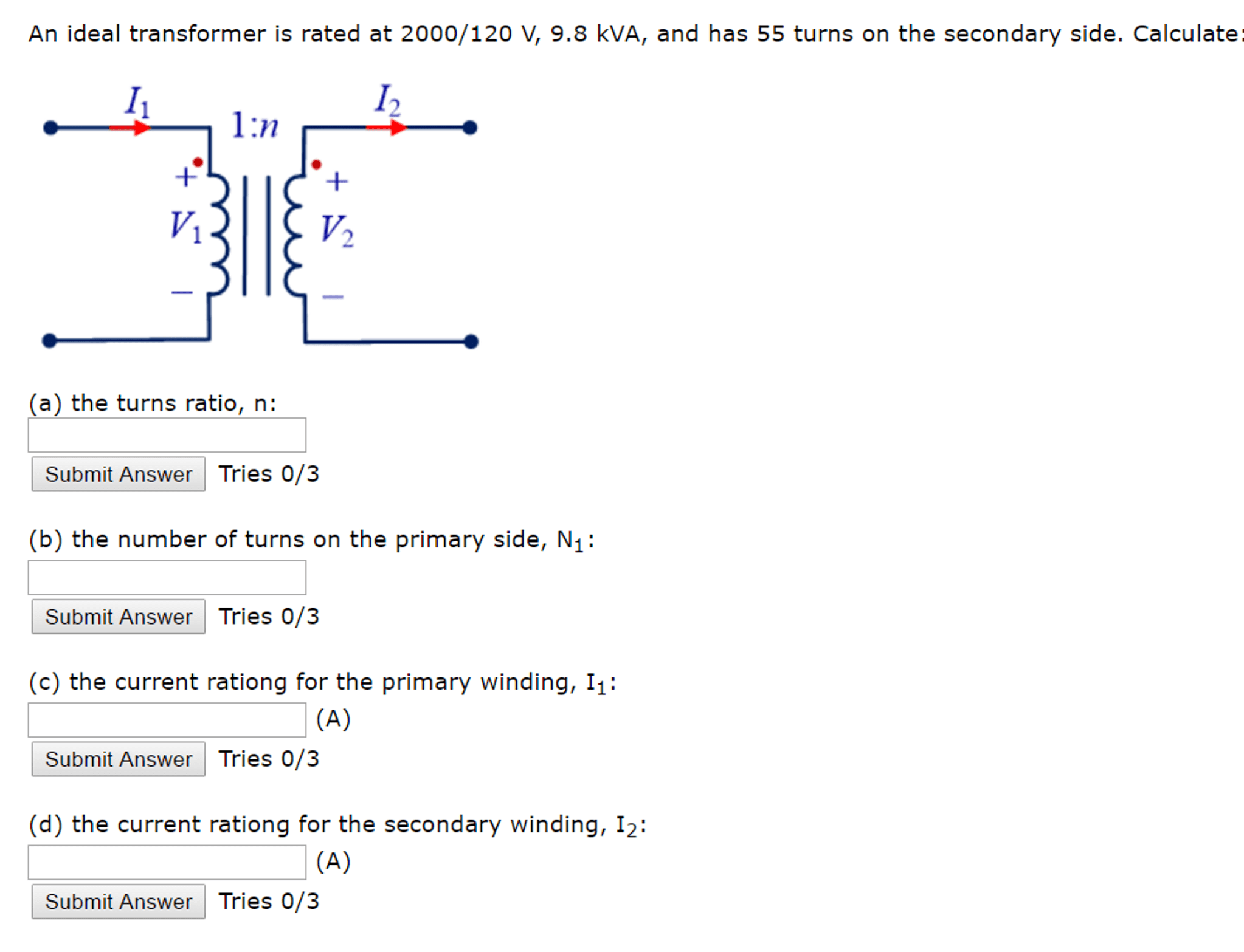 Solved An Ideal Transformer Is Rated At 120 V 9 8 K