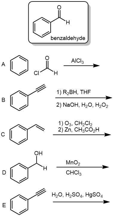 Solved: Benzaldehyde AlCl3 CI 1) R2BH, THF 2) NaOH, H2O, H