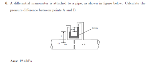 small resolution of a differential manometer is attached to a pipe as