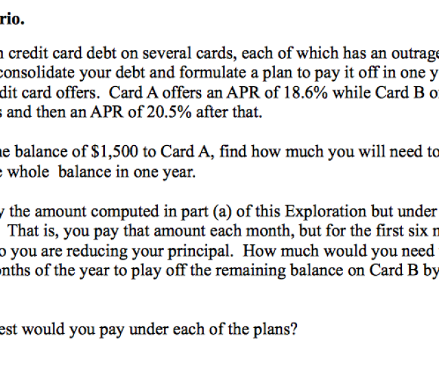 Calculate Each Scenario You Have 1500 In Credi
