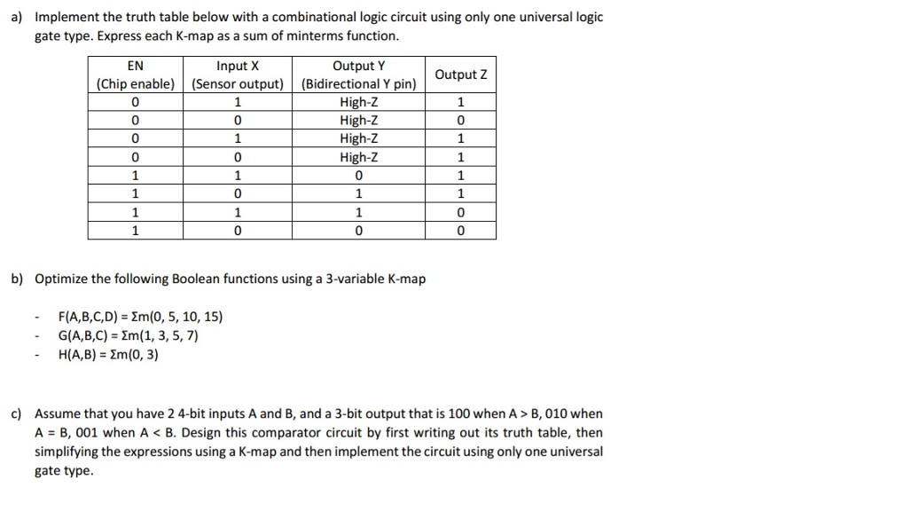 Solved: Implement The Truth Table Below With A Combination
