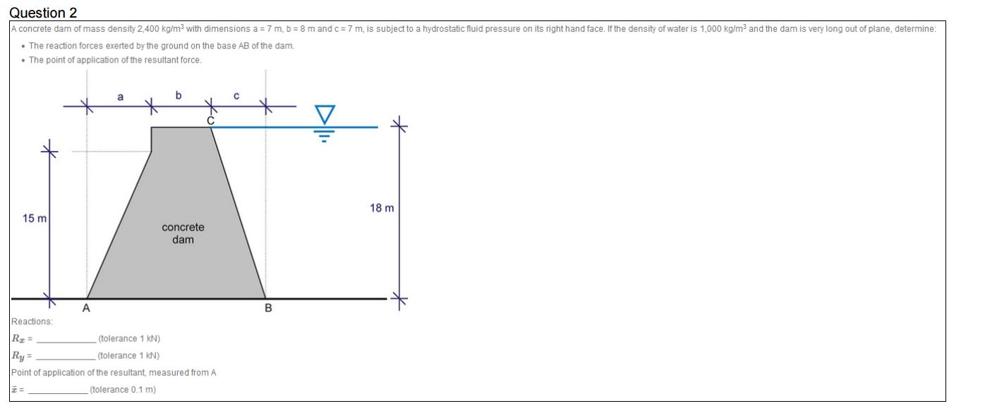 Solved: Statics Question, Fluid Mechanics A Concrete Dam O