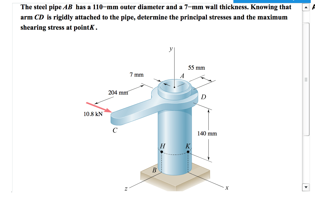 hight resolution of question the steel pipe ab has a 110 mm outer diameter and a 7 mm wall thickness knowing that arm cd is r