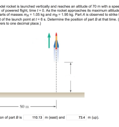 a 3 kg model rocket is launched vertically and reaches an altitude of 70 m [ 1024 x 789 Pixel ]